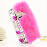 High Grade Crystal Fox Hair Rhinestone Fur Case Luxury Bling Diamond Coque For Iphone 5C 6S