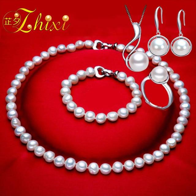 ZHIXI véritable perle bijoux ensemble blanc naturel Broque perle d'eau douce collier Bracelet boucles d'oreilles anneau pour les femmes cadeau à la mode T125
