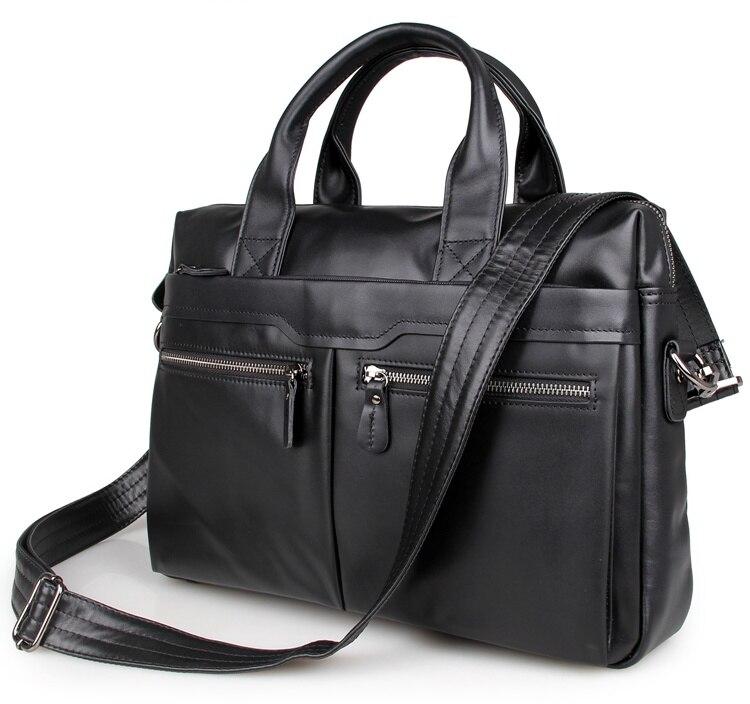 JMD Vintage Leather Men's Black Briefcase Laptop Bag Messenger Handbag Hot Selling 7122A-1 jet jmd 1