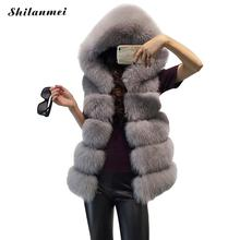 Women's Coats Jacket Gilet Veste Luxury Fur Hooded Vest Coat High Quality Faux Fox Vests Winter Fashion Furs Warm Women Overcoat