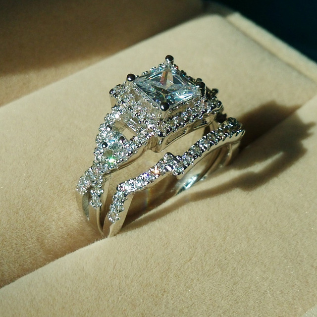 Victoria Wieck Noble Topaz Simulated Diamond 925 Silver Cross engagement Wedding Band Ring Set Sz 5-10 Gift free shipping