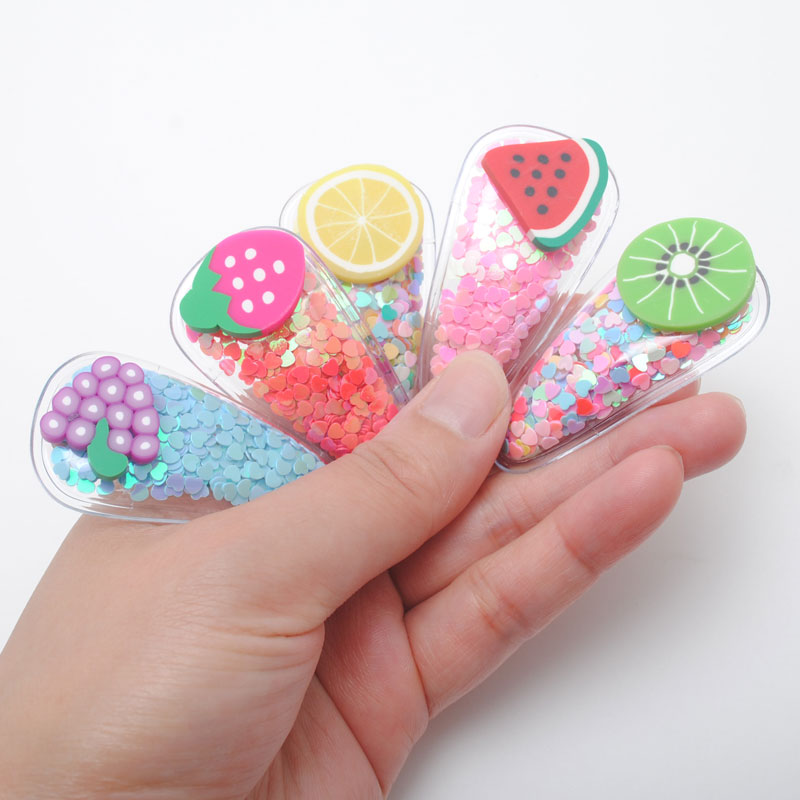 5 Piece New Korea Design Girls Quicksand Snap Hair Clip High Quality Cute Fruit Slice Hairpin Gift Hair Accessories Hairgrips
