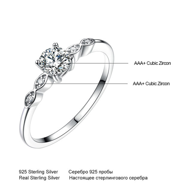Silver 925 Luxury Bridal Cubic Zirconia Ring 4