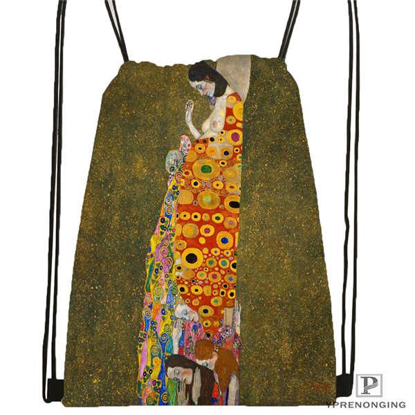 Custom Gustav_Klimt @2 Drawstring Backpack Bag Cute Daypack Kids Satchel (Black Back) 31x40cm#20180611-02-98