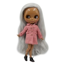 Factory Neo Blythe Doll Grey Long Wavy Hair Jointed Body 30cm