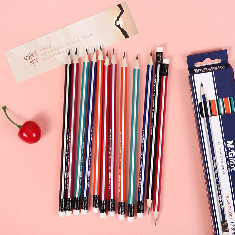 M&G 12/24/48/120pcs/lot HB Wooden Pencils with Eraser Triangular Graphite Black Lead Wood Pencil for school supplies stationeryM&G 12/24/48/120pcs/lot HB Wooden Pencils with Eraser Triangular Graphite Black Lead Wood Pencil for school supplies stationery