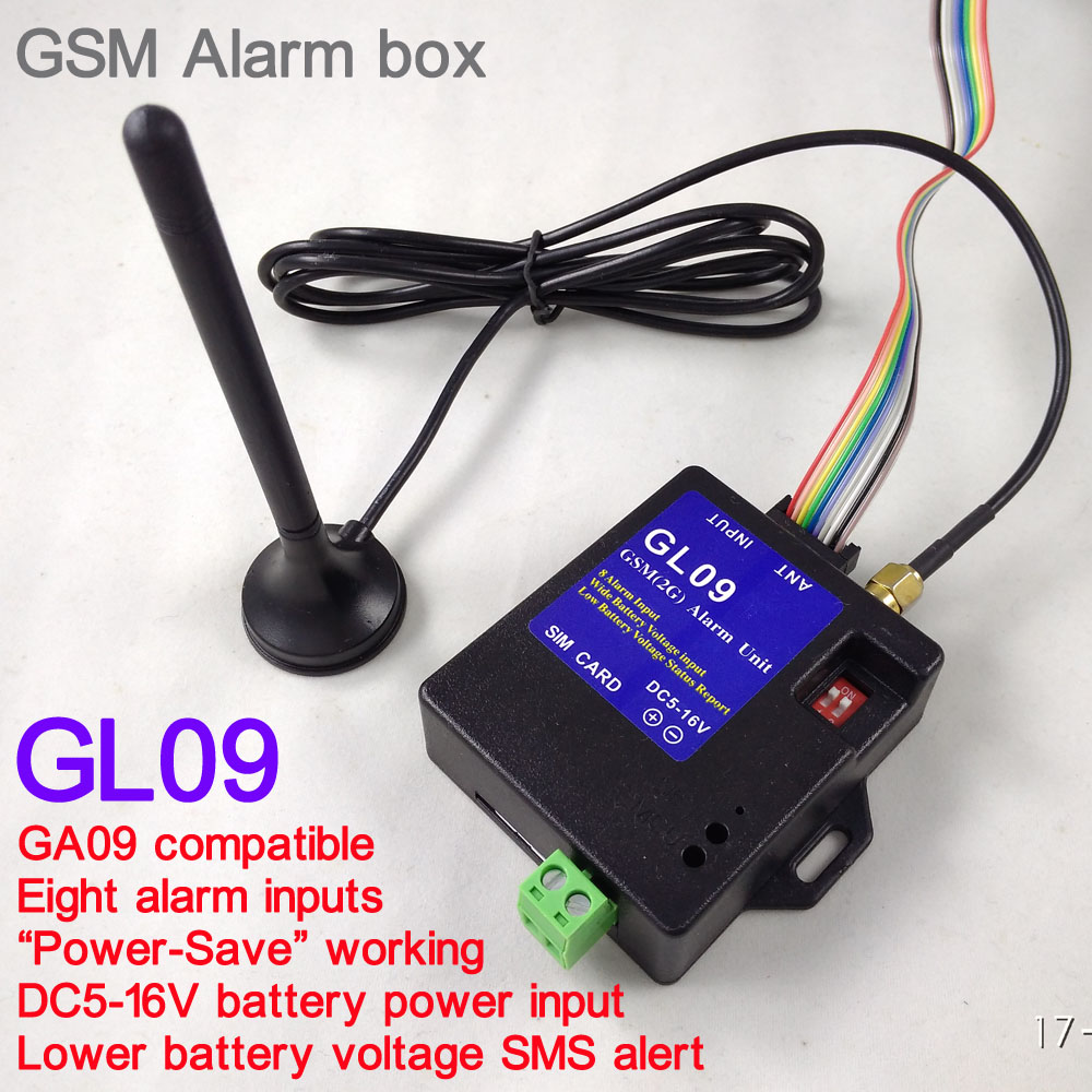 GL09 New 8 Channel Super Mini GSM Alarm Systems SMS Alarms Security System Most Suitable For Battery Operated Portable Alert