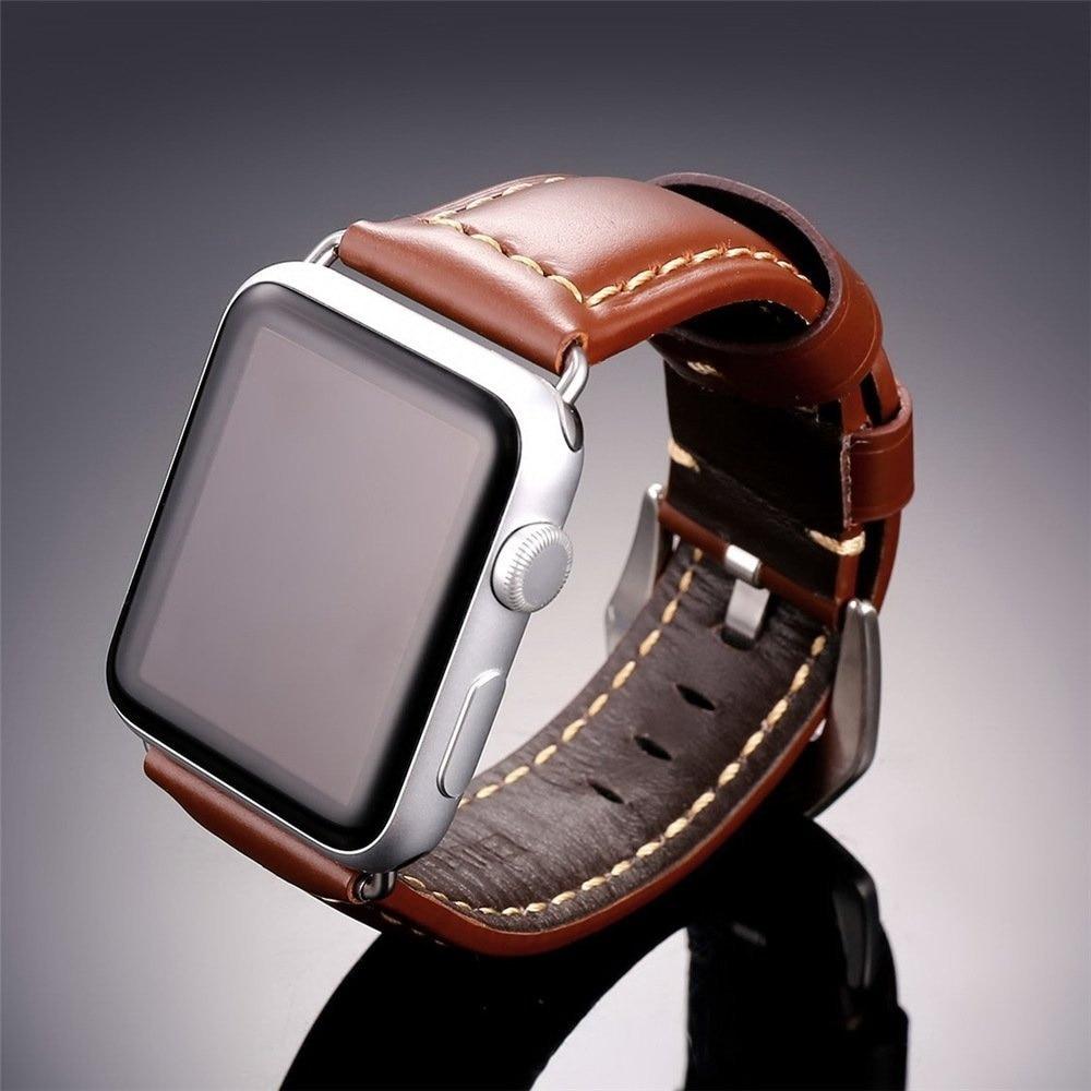 купить JANSIN genuine cow leather watchbands strap for apple watch band 40mm 44mm 42mm 38mm for iWatch series 1 2 3 4 bracelet по цене 676.58 рублей
