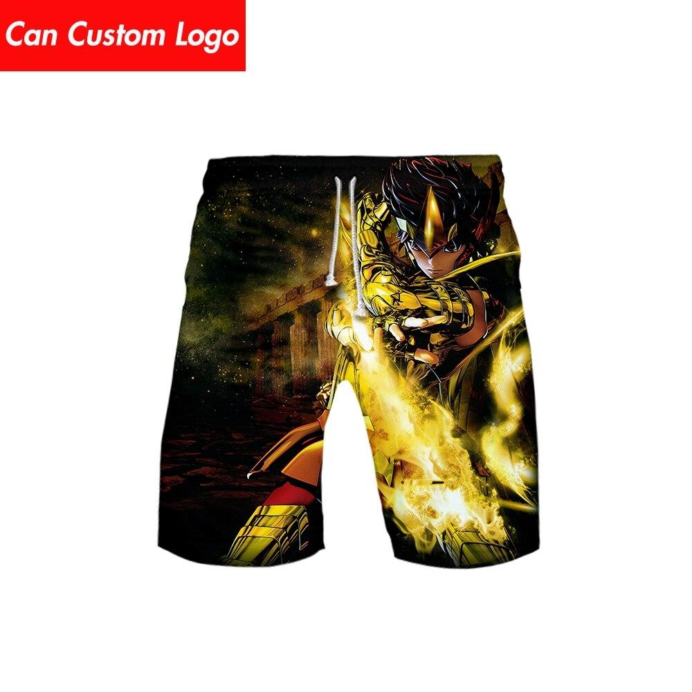 Men's 3D Saint Seiya Templar 3DBoard Shorts Trunks 2019 Summer New Quick Dry Saint Seiya Men Hip Hop Short Pants Beach Wear