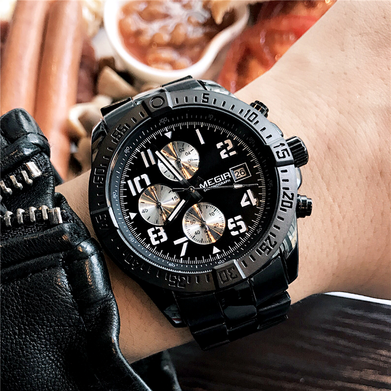 MEGIR Men's Watches 2018 Chronograph Waterproof Luxury Quartz Watches Top Brand Mens Stainless Steel Business Man Wristwatch цена