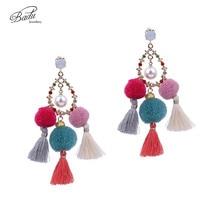 Badu Boho Tassel Earrings Simulated Pearl Drop Pendant Long Earring Women Colorful Jewelry 2017 Summer New Arrival цены