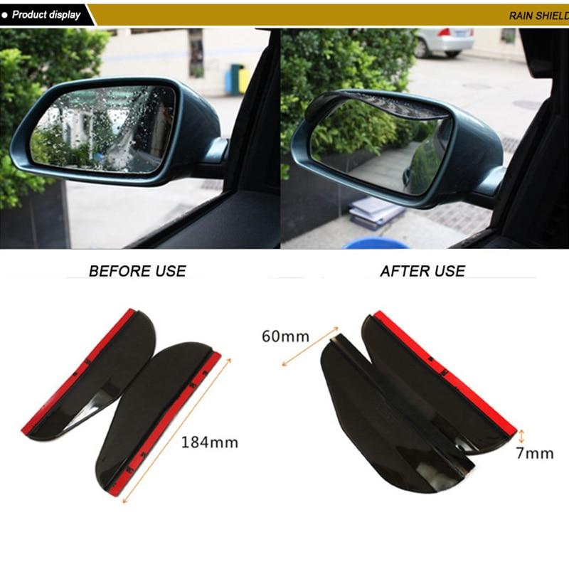 2pc Auto Car Rearview Mirrors Sunvisor Clear Shade Rain Shield Flexible Guard