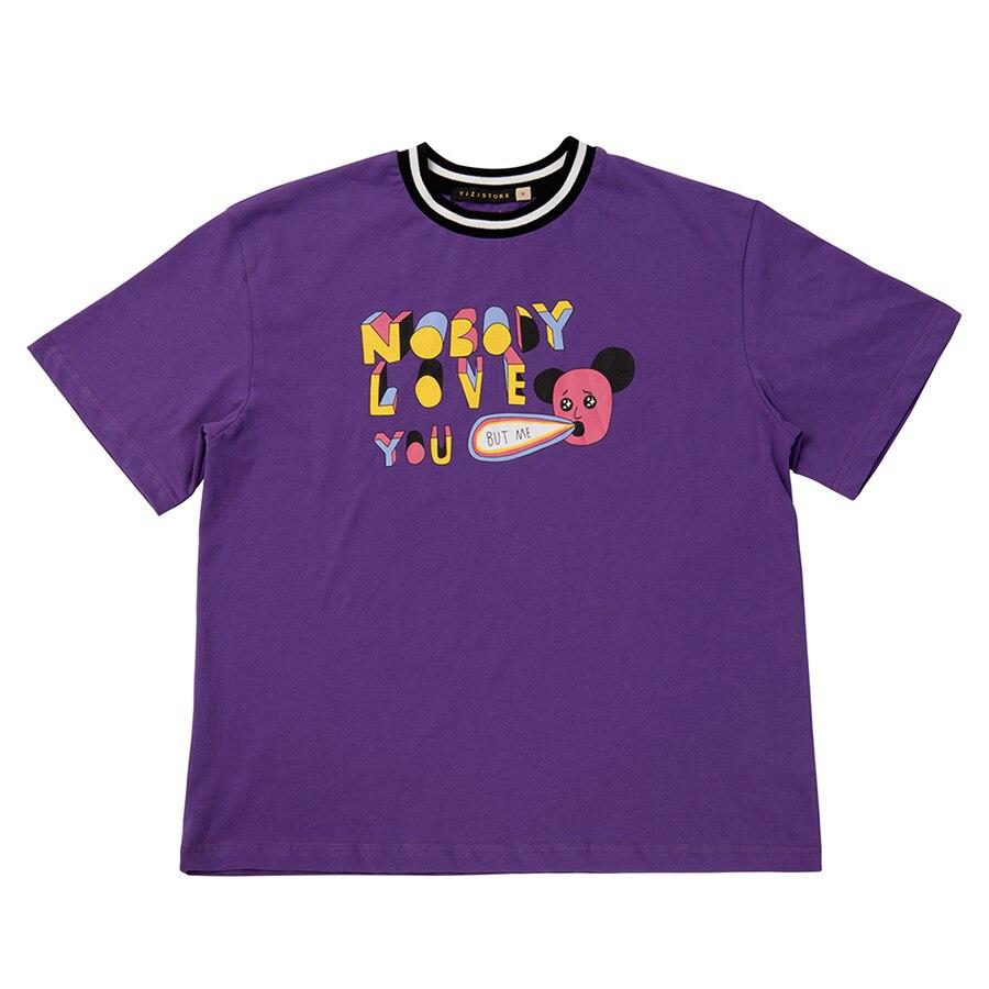 YIZISToRe original décontracté normcore minimalistshort manches couple T-shirts avec impression pour filles et garçons dans 4 styles (FUN KIK) - 4