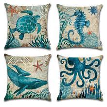 Ocean Park Cotton Linen Theme Decorative Pillow Cover Case 18 Inch X Square Shape-Ocean-Beach-Sea-Print-Starfish-Seaho