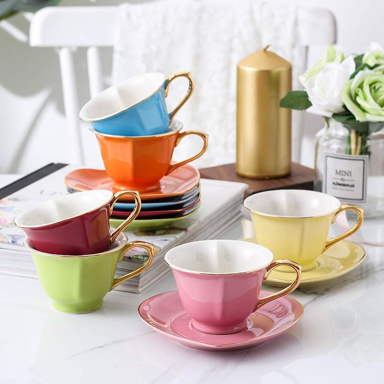 Artvigor forme de coeur thé coloré tasses à café et soucoupe ensembles 150 ml/5.1 oz tasses Service pour 6 avec boîte-cadeau pour noël, mariage
