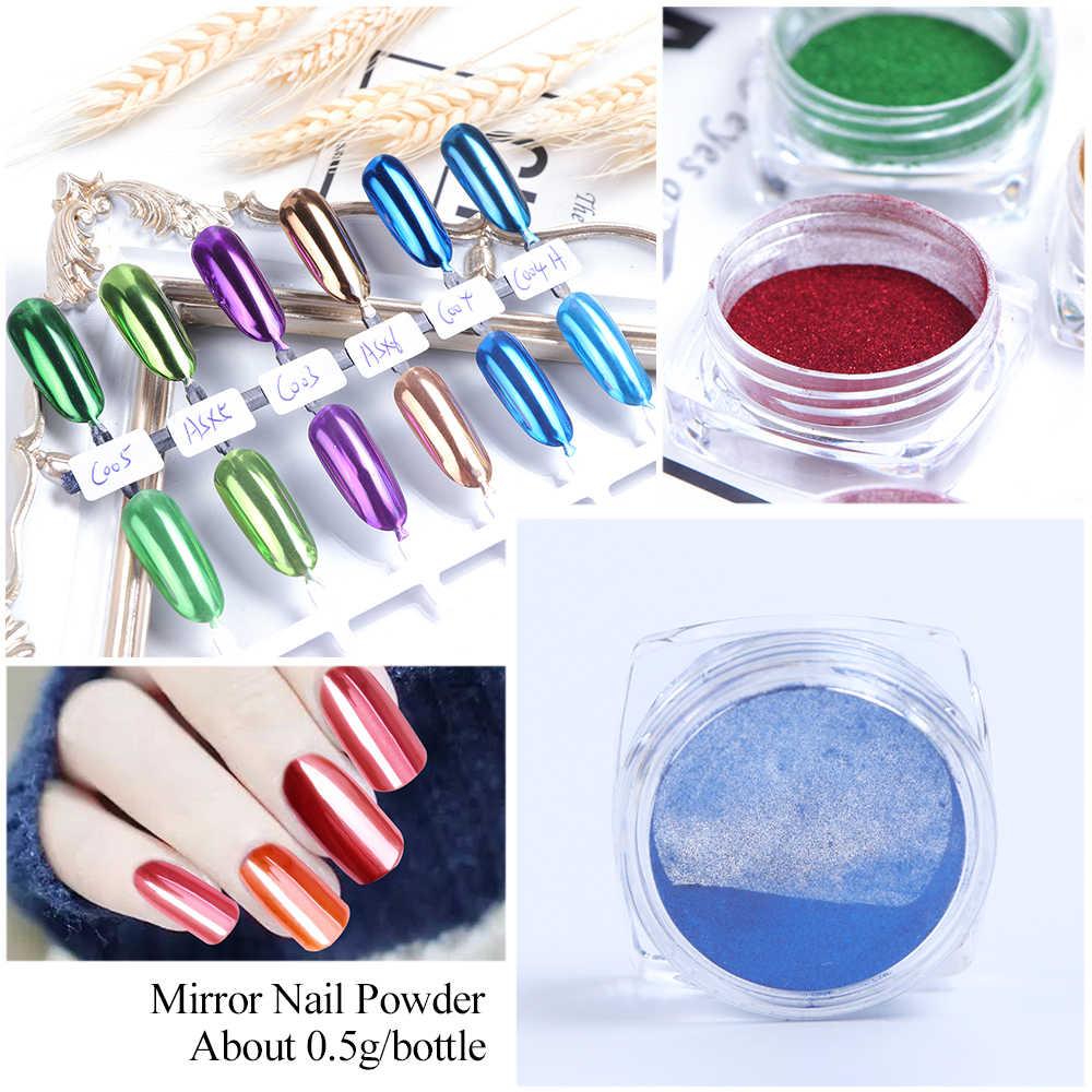 Mélange 12 couleurs Chrome miroir poudre Nail Art paillettes caméléon Pigment poussière manucure ongles conseils décoration accessoires SAC/ASX-1
