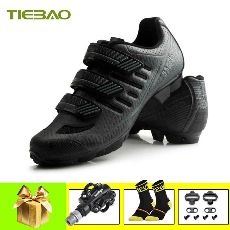 Tiebao Cycling Shoes Sapatilha Ciclismo MTB Bike Bicycle SPD bisiklet Pedals Shoes Breathable Self-locking Triathlon MTB Sneakes