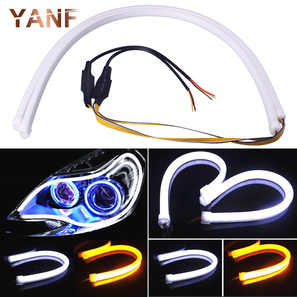 60CM DRL Car Strip White and Yellow Flowing LED Light Daytime Running Light Flexible Strip LED Light Stripe Turn Signal Lamp 2017 2pcs 30cm led white car flexible drl daytime running strip light soft tube lamp luz ligero new hot drop shipping oct10