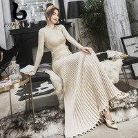 FINEWORDS Gentlewomen Queen Knitted Winter Dress Elegant Vintage Slim Knit Long Sweater Pleated Dress Plus Size Party Robe Femme