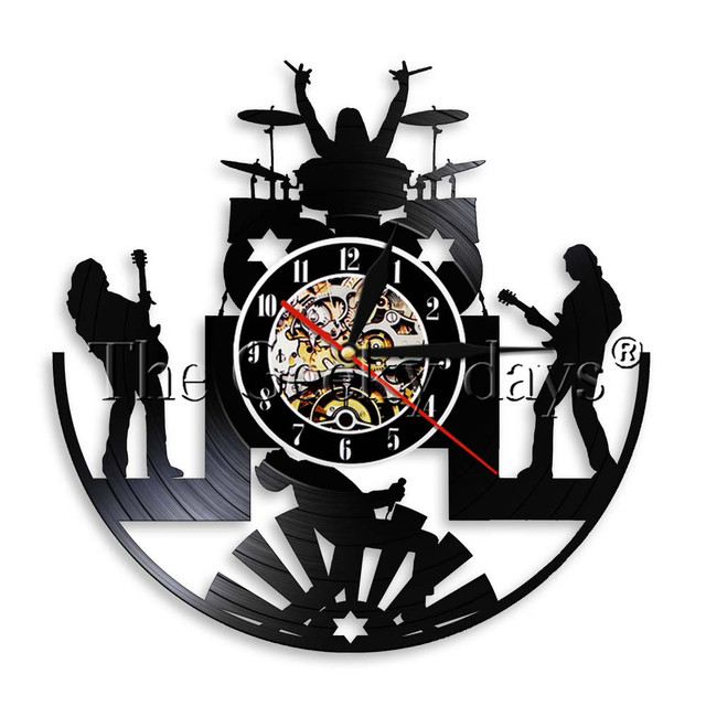 1piece Rock Music Band Vinyl Record Wall Clock Art Decor Vintage Perfect