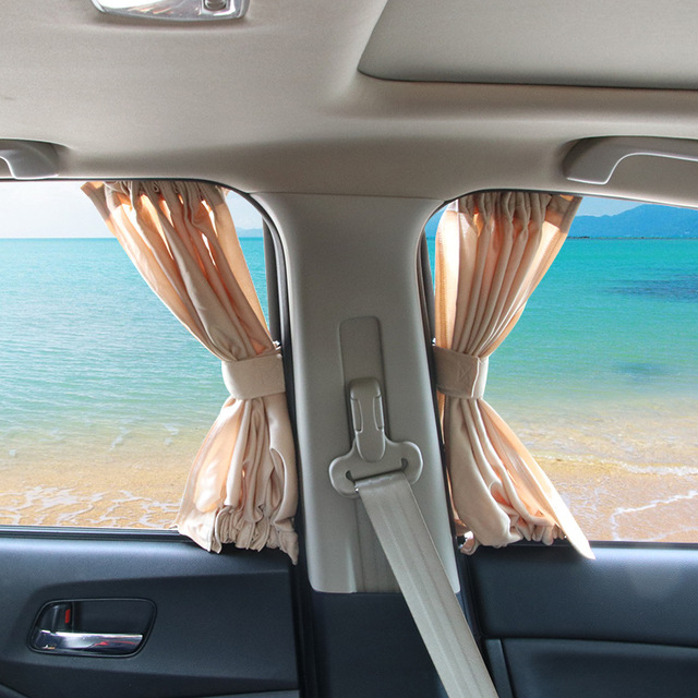 50L Mesh 2pcs/set Car Curtains for Anti-UV Heat Insulation and Privacy Protection Vehicle Auto Side Window Sunshade