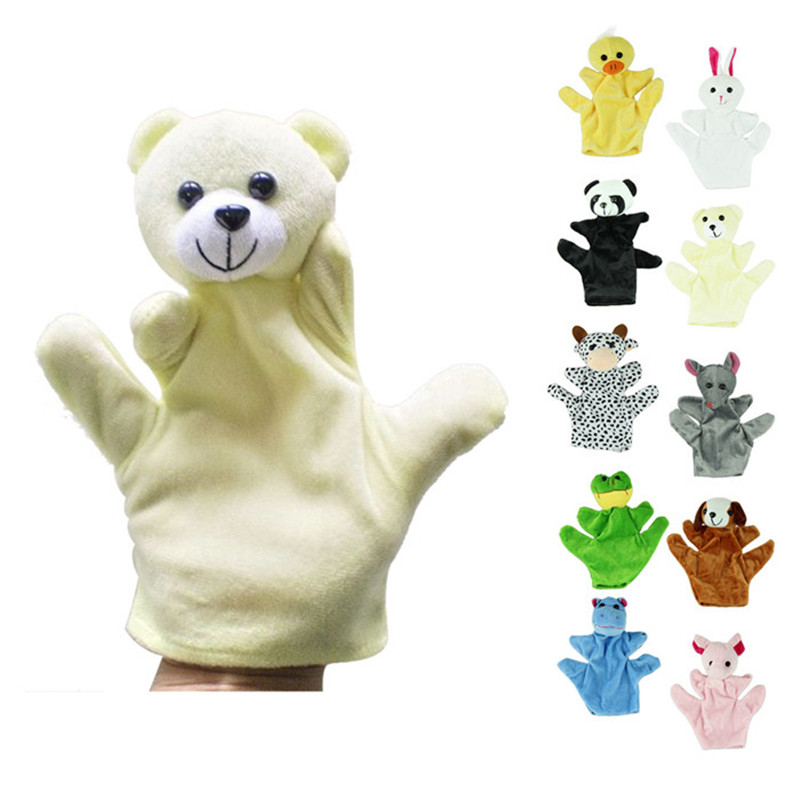 Fingerpuppen Dino Marionnette Bebe Sock Hand Glove Puppet Baby Child Zoo Farm Animal Hand Glove Puppet Finger Sack Plush Toy