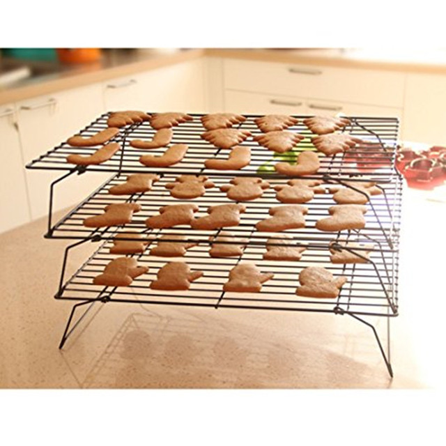 Stackable 3 Tier Stainless Steel Nonstick Cooling Rack Grid Baking Tray For Biscuit