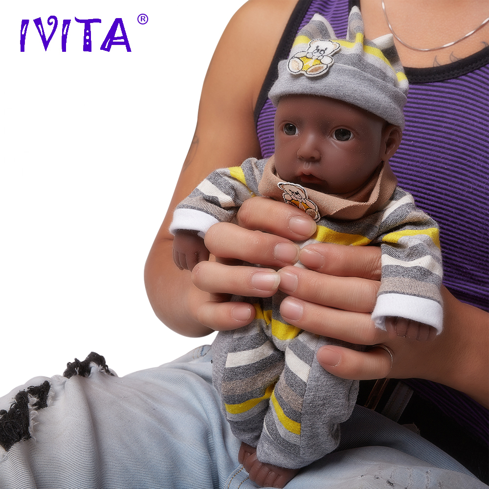 Ivita 11-inch/0.85kg Boy Black Skin High Quality Silicone Reborn Dolls Baby Born Full Body Alive Bath Doll Bonecas Brinquedos