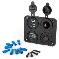 4 Port Wodoodporna 2 Micro USB Car Charger Adapter Gniazda Zapalniczki Wtyczka Rocker Switch Panel + Wyświetlacz LED Napięcia