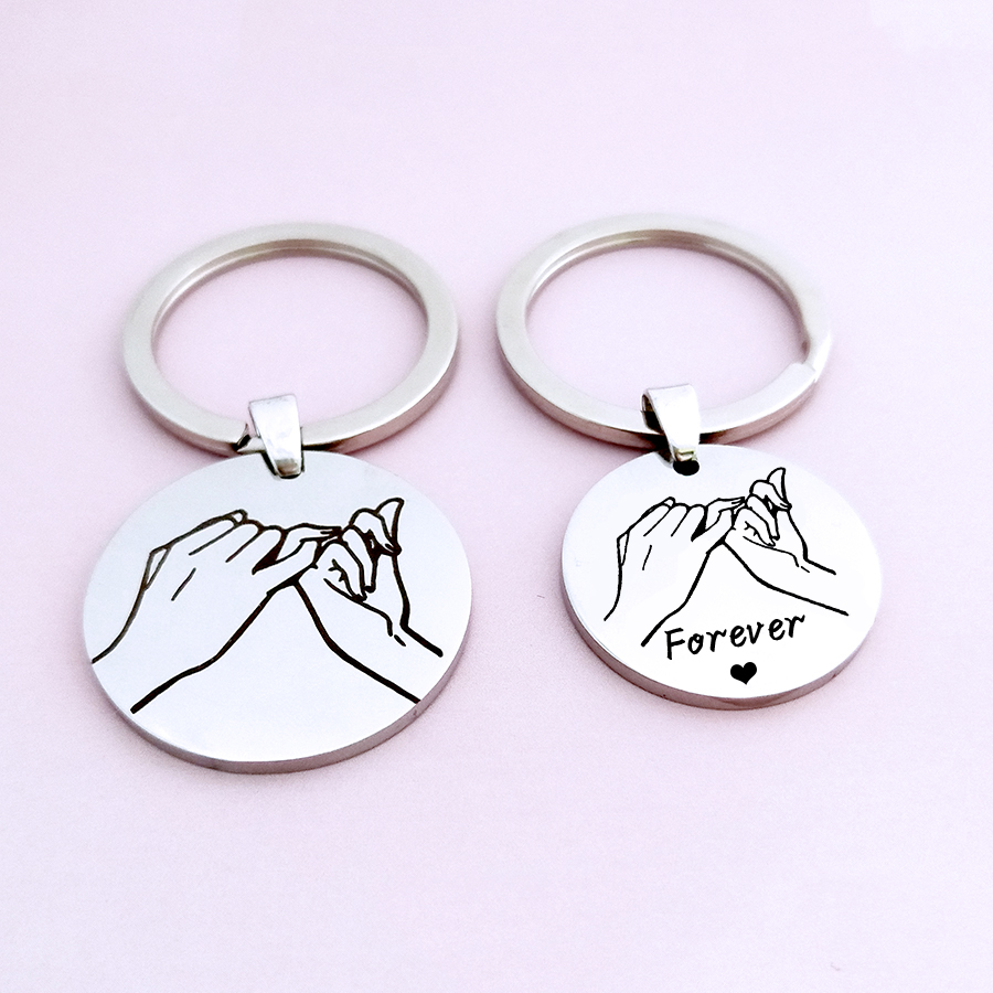 Pinky Promise Keychain Personalized Pinky Promise Key chain Date /& 2 Initials