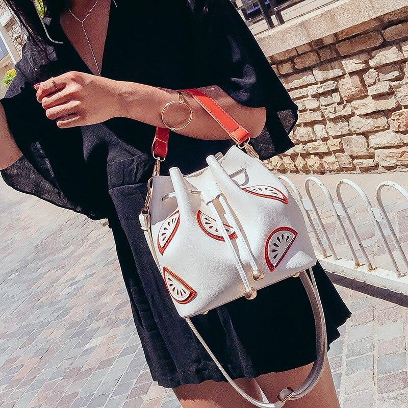New Women's Bucket Bag 2018 Summer Korean Version Of The Fruit Printing Hand Shoulder Bag Fashion Ladies Messenger Bag