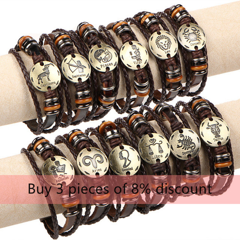 12 Constellations Bracelet for women Fashion Jewelry Leather Bracelet Men Casual Personality Zodiac Signs Punk Bracelet charm