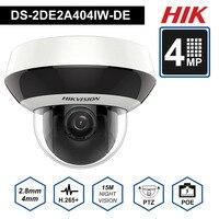 Hik PTZ IP Камера H.265 DS 2DE2A404IW DE3 4MP 4X с переменным фокусным расстоянием 2,8 12 мм объектив видеонаблюдения сети PoE, купольная CCTV Камера аудио