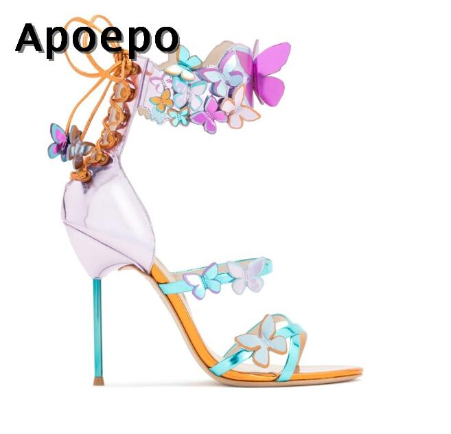 New 2018 Summer high heel shoes sexy open toe butterfly lace-up thin heels sandal mixed colors woman leather sandal 34-42 new 2016 sexy gladiator ankle straps high heels fashion brand women sandal summer mixed colors open toe sandalias big size 34 43
