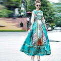 2016 Осень Зима Взлетно-Посадочной Полосы Maxi Длинное Платье Европейский женская Мода Королевской Старинных Печати Большой Расширение Полная Длина Платья