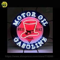 Red Hat Gasoline Neon Sign Motor Oil Neon Light Sign Handmade Neon Bulb Advertise Shop Glass
