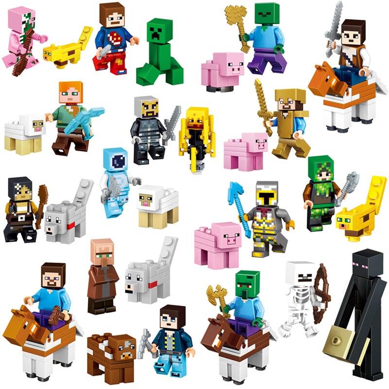 16Pcs/Lot Compatible LegoINGlys Minecrafted Steve Alex Zombies Enderman Reuben Skeleton Action Figure Blocks Toys for Children мягкие игрушки plants vs zombies котенок 15 см
