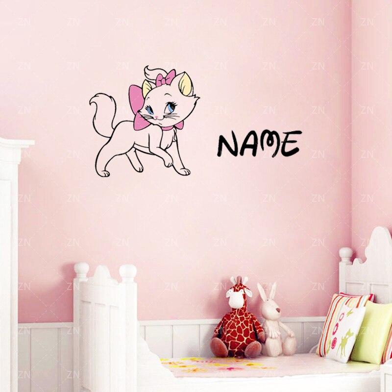 ZN Cute Cartoon Cat Custom Name Vinyl Wall Stickers Cute Animal - Custom vinyl wall decals cats