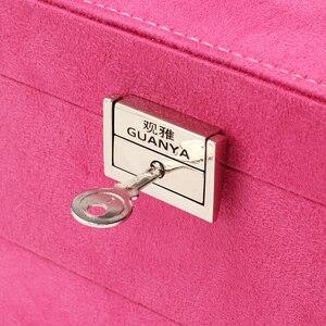 Image 5 - Большая вместительная шкатулка для ювелирных изделий Guanya, многослойное кольцо и ожерелье и т. Д., органайзер, чехол с выдвижным ящиком/замком для женщин, подарок на свадьбу, день рождения