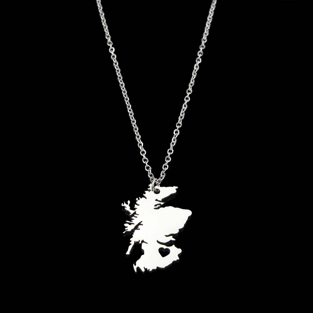 drop shipping fashion Stainless Steel necklace Scotland Map necklace geometric pendant necklace United Kingdom jewelery gift