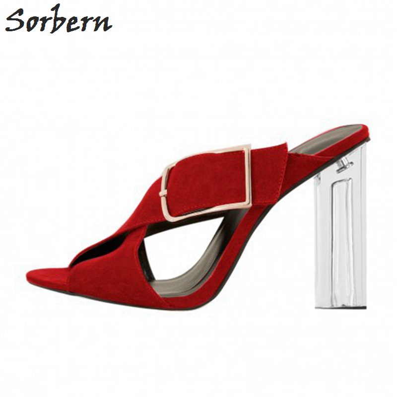 Sorbern Ladies Shoes Pvc Transparent High Heel Mules Slippers Women Sqaure Heeled Plus Size Open Toe Slides Ladies Shoes 2018 ouqinvshen spherical heel mules shoes round toe plus size 34 43 genuine leather yellow white ladies shoes fashion slippers women