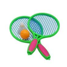 1 Pair of Childrens Tennis Racket Kids Plastic Badminton Rackets Game Props for Kindergarten Primary School (Size M Pink)(China)