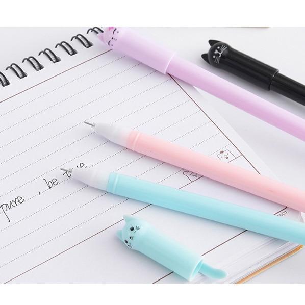 6PCS/set Cat Gel Creative Cute Pink White Black Blue Pen 0.38mm  3