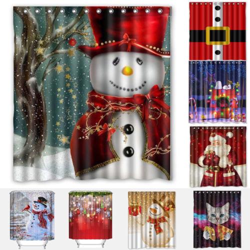 Stylish Merry Christmas Bathroom Shower Curtain Waterproof With Hooks Xmas Snowman Santa Curtains 160x180cm