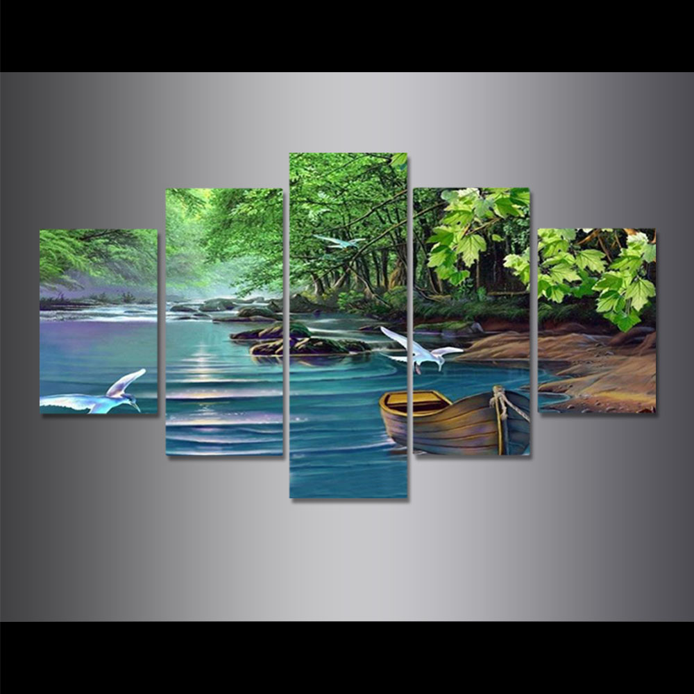 Unframed HD Canvas Prints Riverside Scenery Boat Birds Green Tree Prints Wall Pictures For Living Room Wall Art Decoration