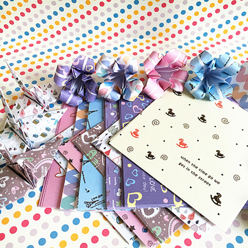 100pcs 8 4cm Small Floral Origami Paper Love Pony Tower Scrapbooking