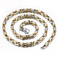 Mens Boys Chain Necklace Golden Silver Tone Byzantine Box Necklace Stainless Steel Necklace 55cm Chain Necklaces