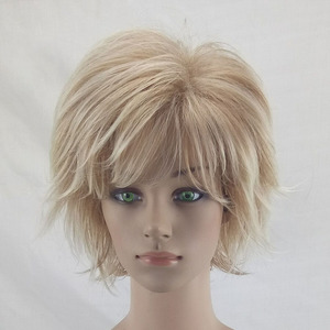 Image 2 - HAIRJOY White Women Synthetic Hair Wigs Blonde Short Curly Wig Heat Resistant  Hairstyle 2 Colors Available Free Shipping