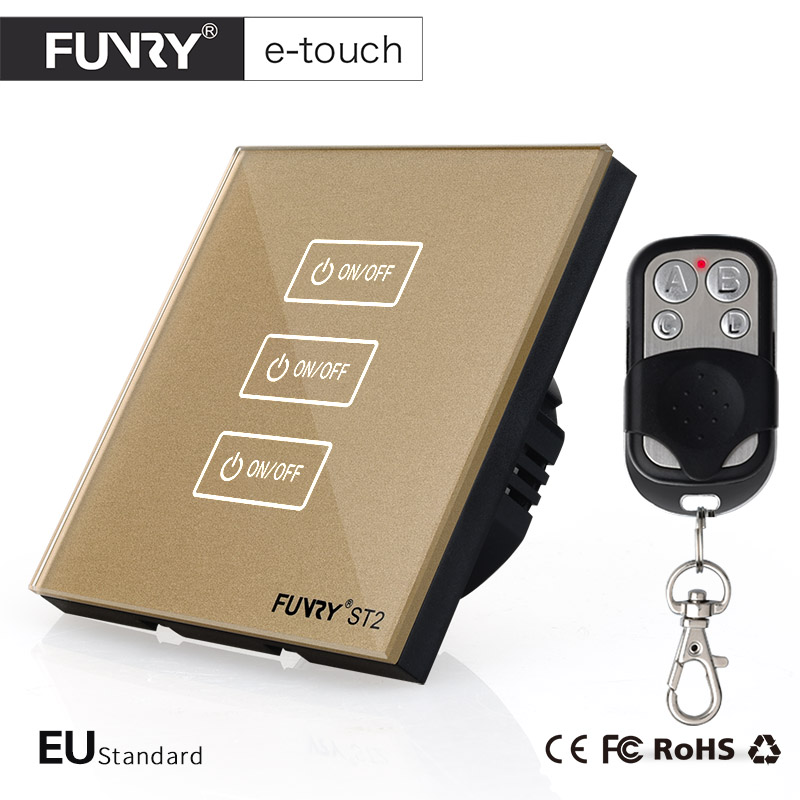 FUNRY ST2-EU Standard Luxury Gold Crystal Glass 3 Gang 1 Way Touch Switch,Wall Switch Smart Remote Control for Home Automation eu uk standard funry remote control switch 3 gang 1 way crystal glass remote wall touch switch led blue indicator for smart home