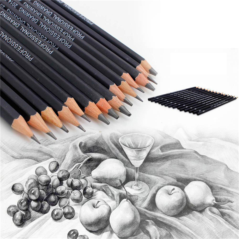 14Pcs/lot High Quality Sketch And Drawing Pencil Set HB 2B 6H 4H 2H 3B 4B 5B 6B 10B 12B 1B School Art Writing Supply